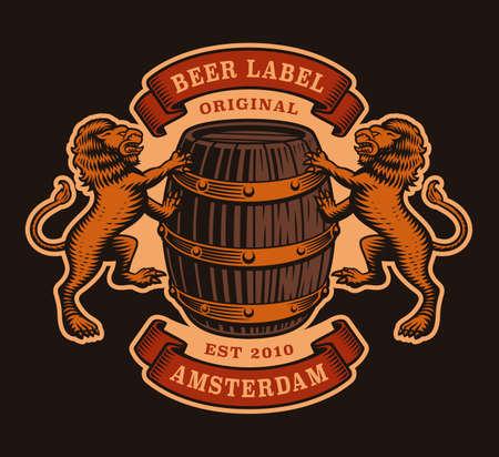 A vinatge brewery emblem with a barrel and lions.
