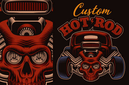 A colorful vector illustration of a cartoon hot rod with a skull 矢量图像