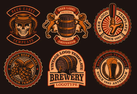 A set of vintage beer emblems. These badges can be used for a brewery or a bar and for many other uses.