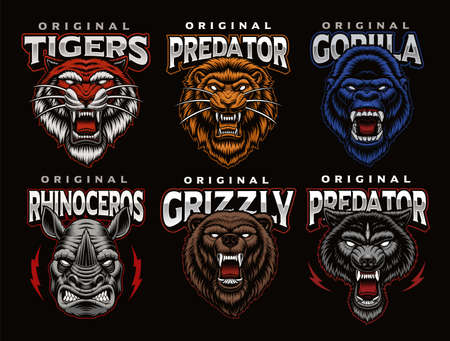 A bundle of colorful badges of different animals such as a lion, a wolf, a tiger, a gorilla, and others. These designs can be used as  templates for sports teams as shirt prints as well as for many other uses.