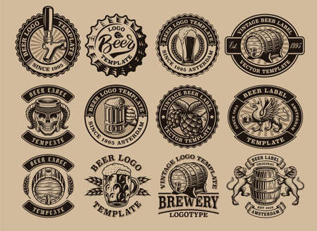 A bundle of black and white vintage beer emblems, these design can be used as template for a brewery or for a bar as well as for many other uses.