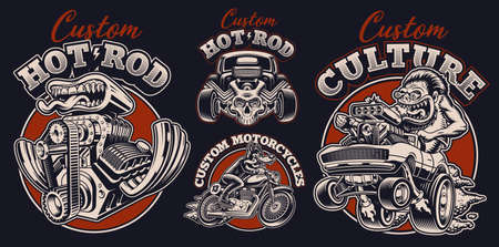 A set of black and white vintage illustrations for hot rod theme, these design s can be used as perfect shirt prints as well as for other uses. 矢量图像