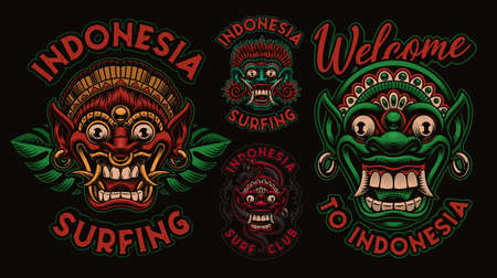 A bundle of colorfull vector illustrations with traditional Bali masks, these designs can be used as shirt prints for an Asian theme.