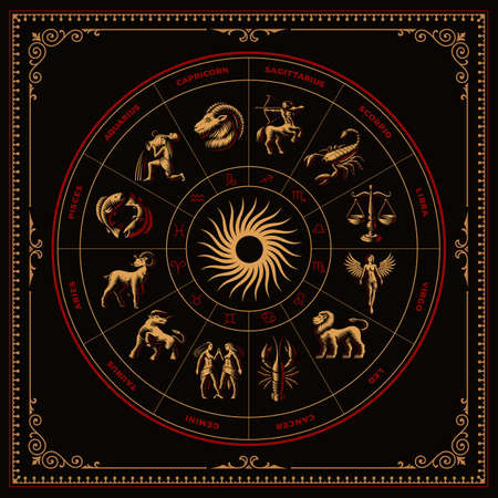 A bundle of vector zodiac signs in engraving style on dark background 矢量图像