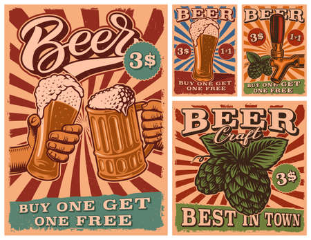 A Set of Vintage Beer posters, flyer templates for beer theme, all elements are on the separate layers.