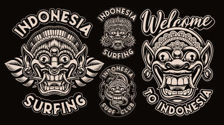 A bundle of black and white emblems with traditional Bali masks, these designs can be used as shirt prints for an Asian theme.