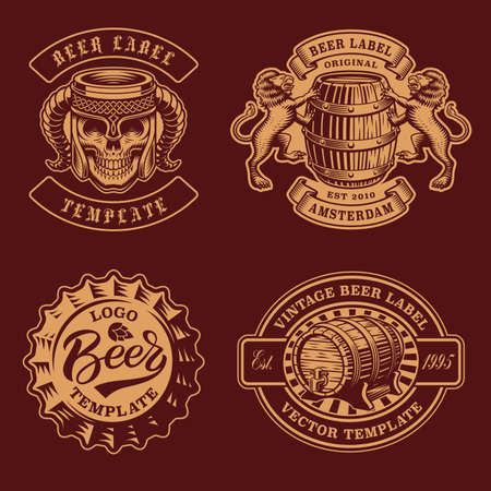 A set of black and white vintage beer badges, these badges can be used as  templates for a brewery or for a bar.