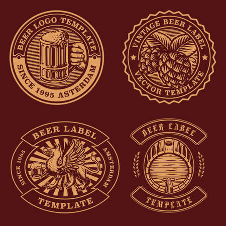 Vintage beer emblems bundle, these designs can be used as  templates for a bar as well as for many other uses 矢量图像