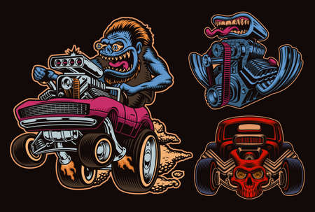 A bundle of colorful vector illustrations for hot rod theme, these designs can be used as shirt prints as well as for many other uses. 矢量图像