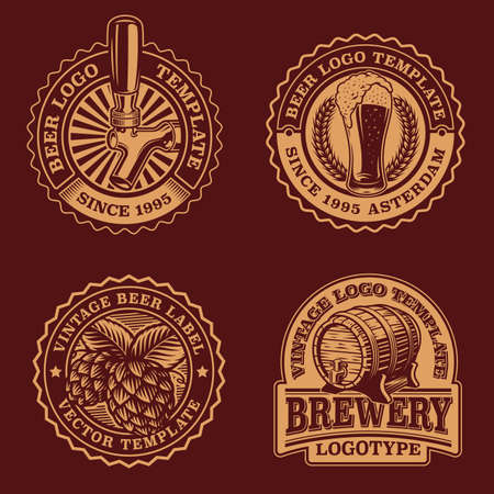A set of black and white vintage beer emblems, these badges can be used as icon templates for a brewery or for a bar. Stock Illustratie