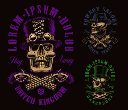A set of different vector skulls, these design can be used as shirt prints