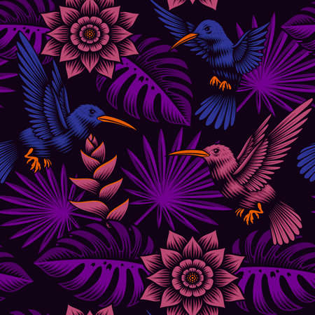 A tropical seamless pattern with beautiful exotic flowers and birds, this design can be used as a fabric print as well as for many other uses.