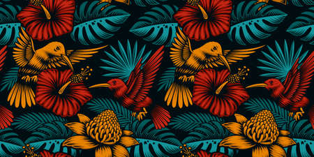 Tropical seamless background with exotic plants and beautiful birds, this design can be used as a fabric print as well as for many other uses