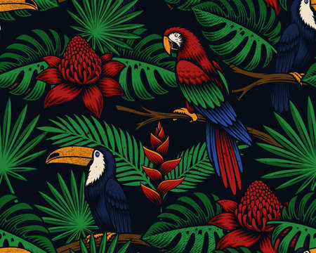 Tropical seamless background with exotic birds and flowers, this design can be used as a fabric print, wallpaper as well as for many other uses