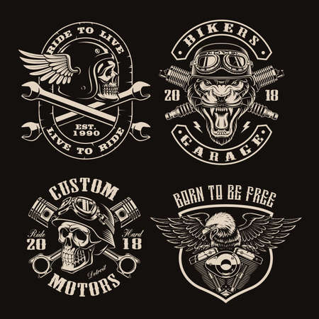 A set of black and white vintage biker emblems on dark background