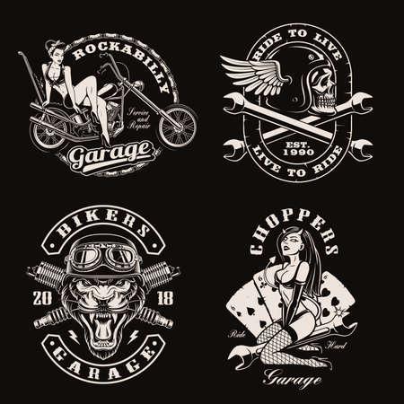 A set of vintage biker illustrations for  templates or shirt prints on dark background
