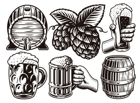 A set of black and white vintage beer illustrations in engraving style isolated on white background