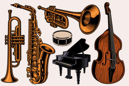 A set of colorful vector illustrations of different musical instruments isolated on white background Stock Illustratie