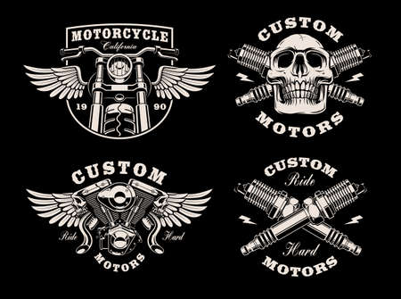 A set of black and white motorcycle emblems on dark background