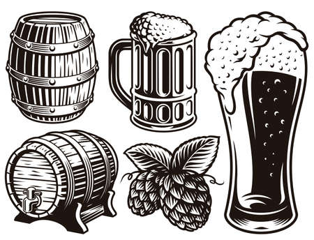 black and white vector illustrations for beer theme isolated on white background Stock Illustratie
