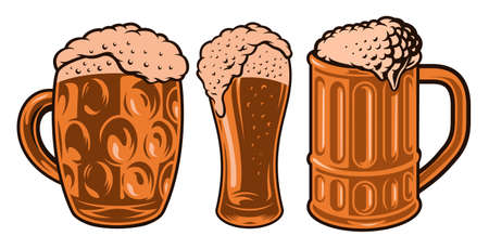 colorful vector illustrations of different beer glasses isolated on white background