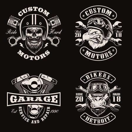 Black and white vintage bike emblems on dark background Stock Illustratie