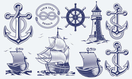 A set of black and white vintage nautical illustrations isolated on white background Stock Illustratie