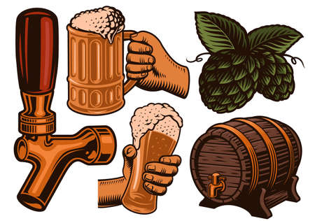 A set of colorful vector illustration for beer theme isolated on white background