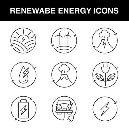 a set of line icons for renewable energy theme, these icons are perfect for apps, web designs, or different kinds of advertisement