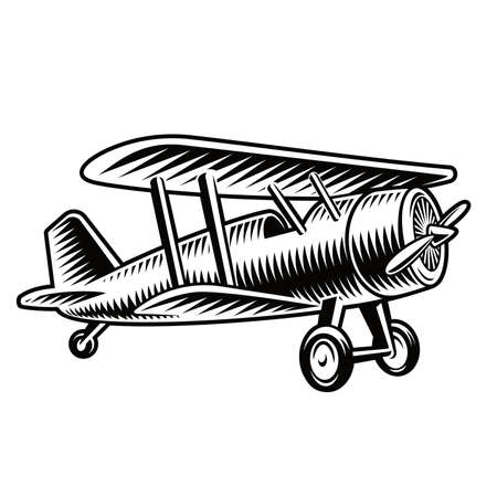 A black and white vector illustration of a vintage airplane isolated on white background. Vectores