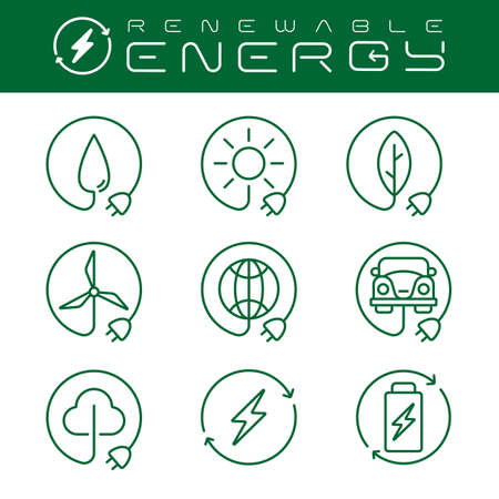 renewable energy icons set with an editable stroke, these icons can be used in web design, for apps, websites, or for advertisement