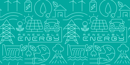 renewable energy seamless background, line art. Tadvertisementhis design can be used as a background for banners, flyers, and different kinds of advertisement Vectores