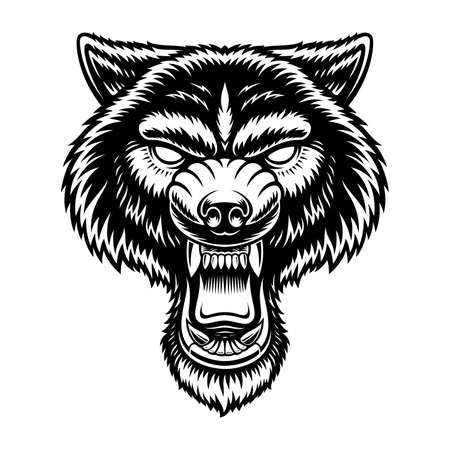A black and white vector illustration of a wolf head, isolated on white background. Vectores