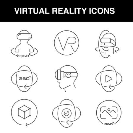 Virtual reality icons set with an editable stroke, these icons can be used in web design, for apps, websites, or for advertisement