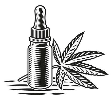 a black and white illustration of cannabis oil on white backgound