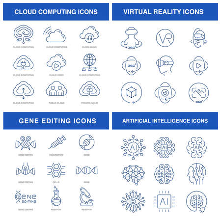 Modern technologies icons set for such themes as digital icons, online education renewable energy, and gene editing Vectores