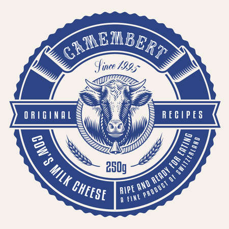 a round cheese label in vintage style, this design is editable and can be used as well as a label for a milk package or as a logo for a butcher shop