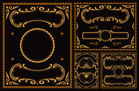 a set of vintage vector borders on dark background, these parts can be used for postcards and any packages in vintage style as well as for many other uses.