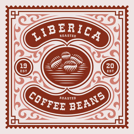 a square vintage coffee label, this design can be used as a template for a coffee package Ilustração