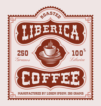 A vintage coffee label, this design can be used as a coffee beans package.