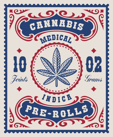 a vintage cannabis label for a package, that design can be used as a package for different marijuana products.