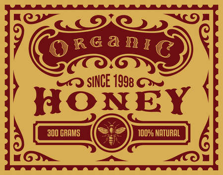 A vintage honey label for a package, all elements are in separate groups and editable