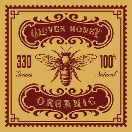 a vintage honey label, this design can be used as a template for a package.