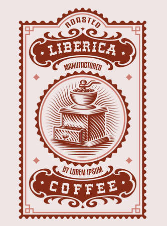 a vintage coffee label, this design can be used as a template for a coffee package Vectores