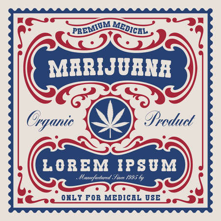 a vintage label for cannabis theme, this design is easily editable and can be used as a template for a package.