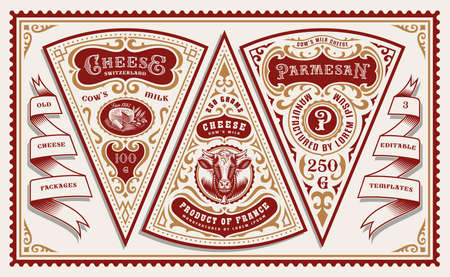a bundle of vintage cheese labels or packages, all elements are in separate groups and easily editable