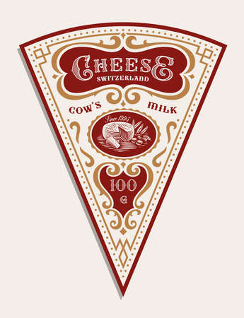 a vector triangular cheese label template in vintage style, all elements are in separate groups and editable.