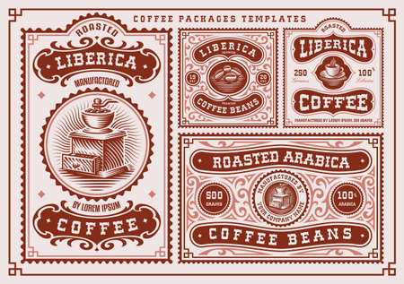 vintage coffee labels bundle, these designs are edible and can be used as packages for coffee products Ilustração