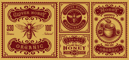 a bundle of vintage honey labels, these design can be used as packages for different honey products Ilustração