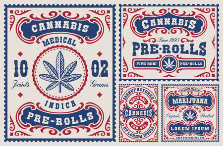 a set of vintage labels and badges for a cannabis theme, these design can be used as templates for packages for different marijuana products Ilustração